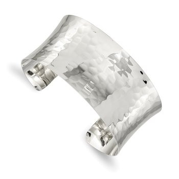 Sterling Silver 30mm Hammered Cuff Bangle