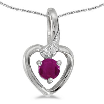 14k White Gold Round Ruby And Diamond Heart Pendant