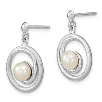 Sterling Silver Rhodium-plated (6-7mm) FWC Pearl & Circle Dangle Post Earri
