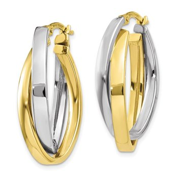 10k Two-tone Oval Hoop Earrings
