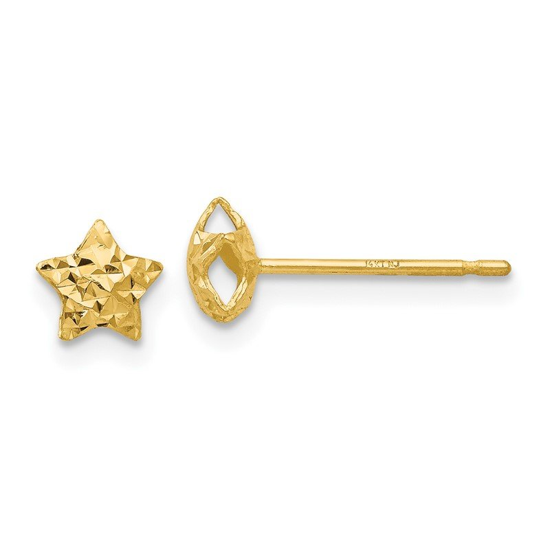 Quality Gold 14K Diamond Cut Puffed Star Post Earrings