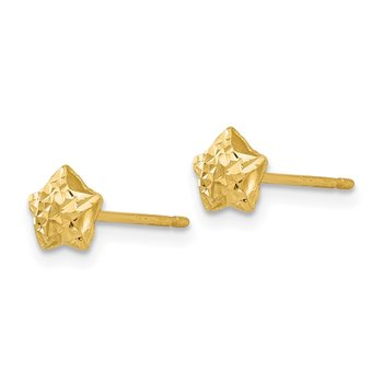 14K Diamond Cut Puffed Star Post Earrings