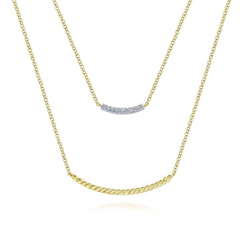 Amavida 14K Yellow Gold Layered Twisted Diamond Bar Pendant Necklace