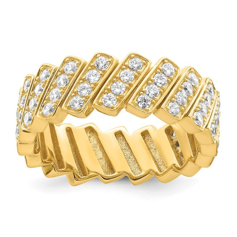 Quality Gold Sterling Silver Gold-tone Slanted CZ Band