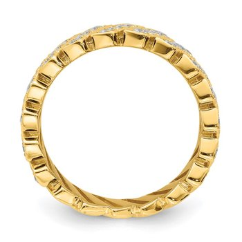 Sterling Silver Gold-tone Slanted CZ Band
