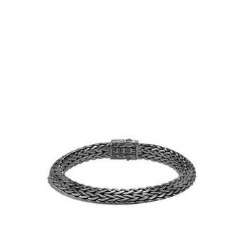Tiga Classic Chain 8MM Bracelet in Blackened Silver, Diamonds