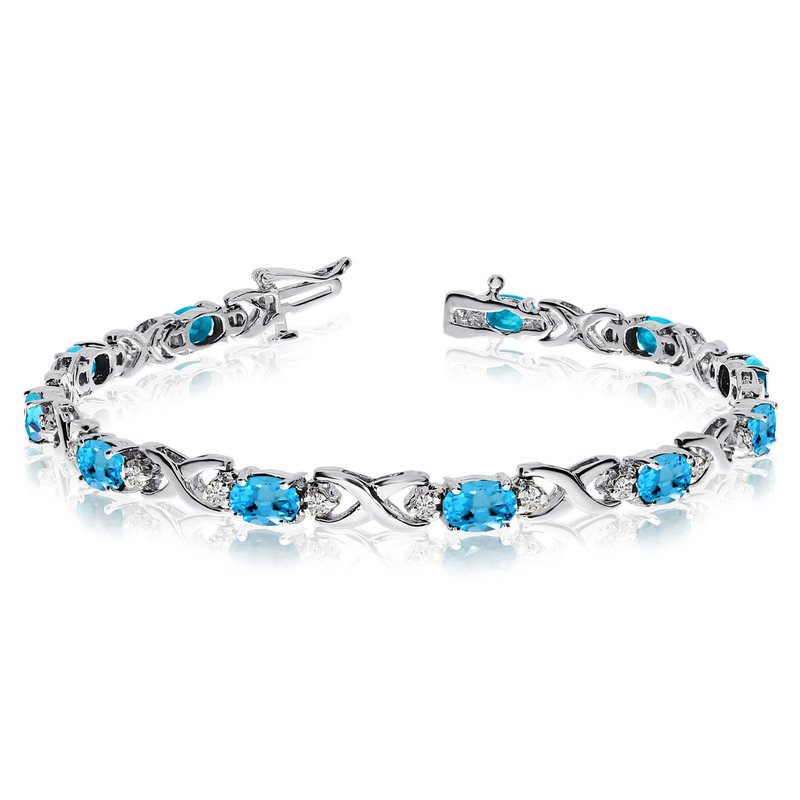 Color Merchants 14k White Gold Natural Blue-Topaz And Diamond Tennis Bracelet
