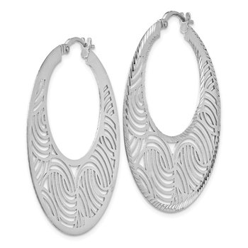 Leslie's Sterling Silver Fancy Polished Cut-out Hoop Earrings