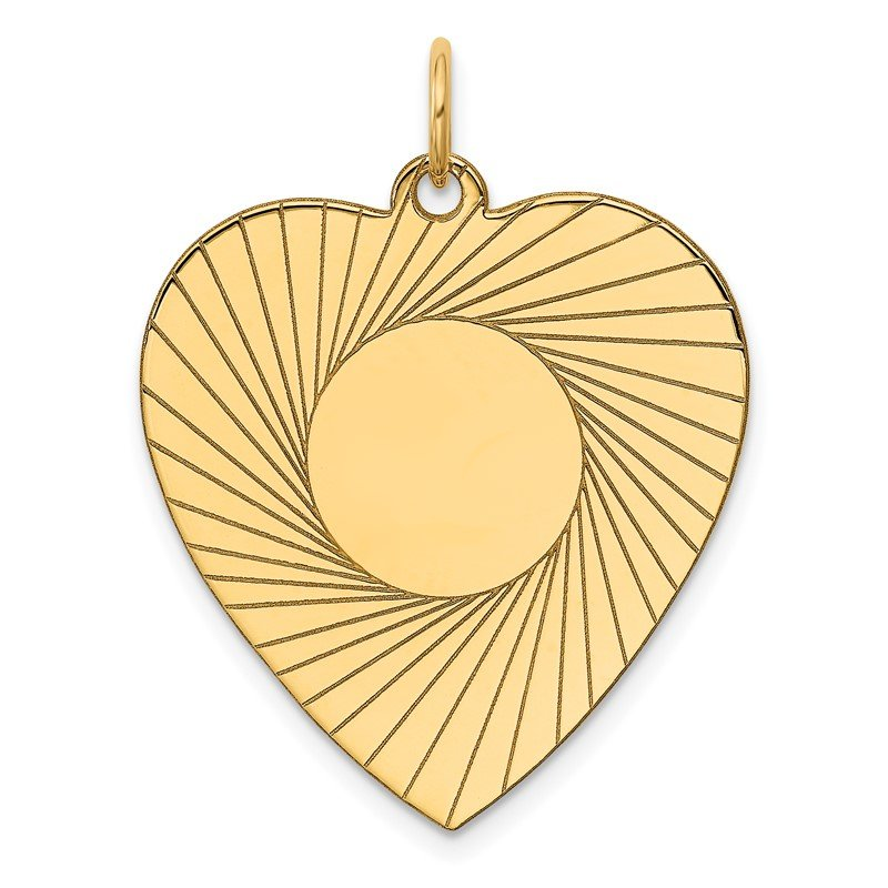 Quality Gold 14k Etched .018 Gauge Engravable Heart Disc Charm