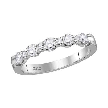 14kt White Gold Womens Round Diamond Wedding Anniversary Band Ring 1/2 Cttw