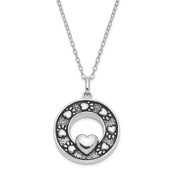 Sterling Silver Antiqued Paw Prints Ash Holder 18in. Necklace