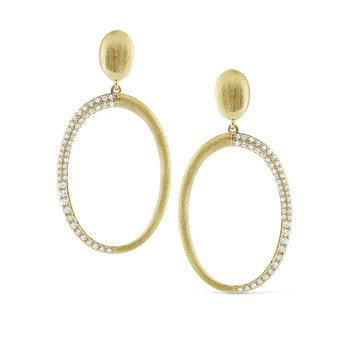14K Brushed Gold Circular Earrings