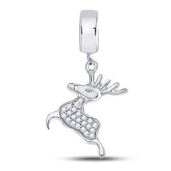 Sterling Silver Womens Round Diamond Rudolph Reindeer Animal Pendant  Cttw