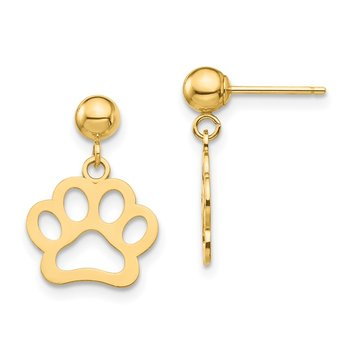 14K Dog Paw Dangle Earrings