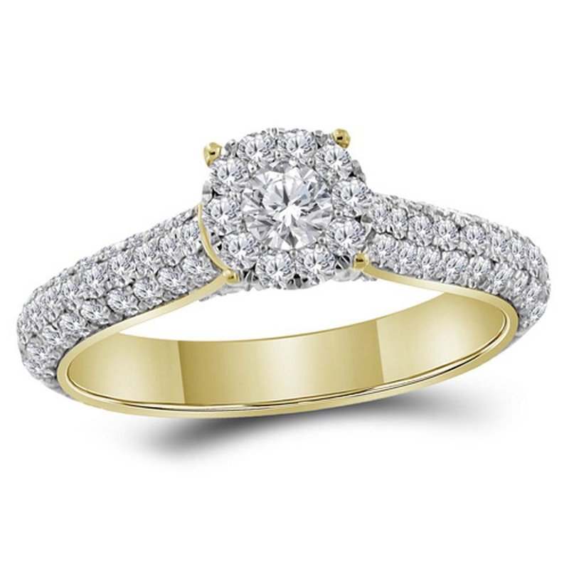 Gold-N-Diamonds 14kt Yellow Gold Womens Round Diamond Solitaire Bridal Wedding Engagement Ring 1-1/3 Cttw