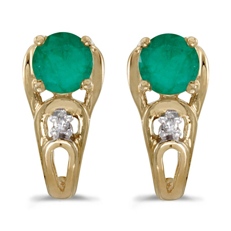 Color Merchants 10k Yellow Gold Round Emerald And Diamond Earrings