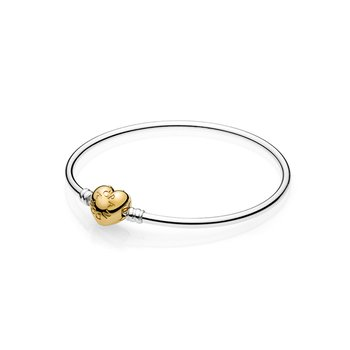 Silver Bangle Bracelet, Pandora Shine™ Logo Heart Clasp