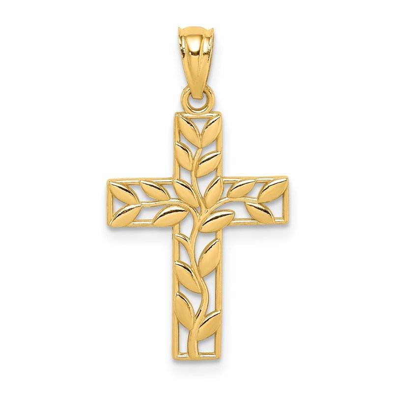 Quality Gold 14K Leaf Cross Pendant