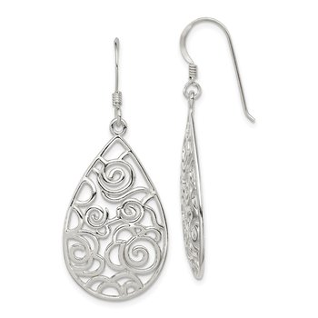 Sterling Silver Polished Filigree Dangle Earrings