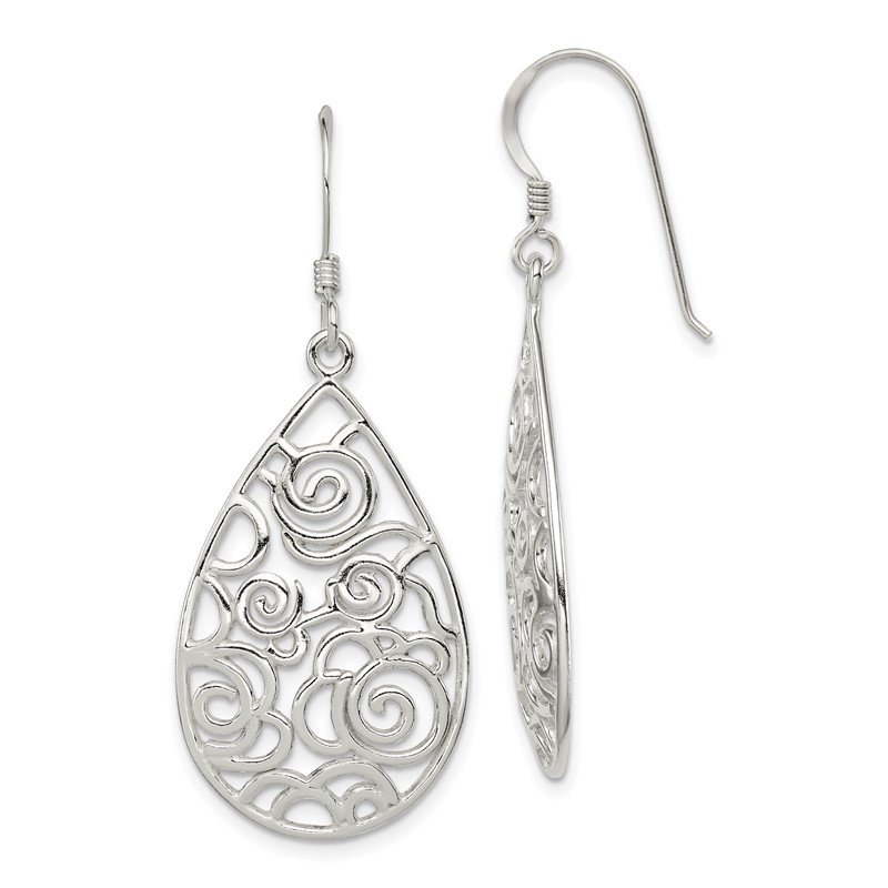 Quality Gold Sterling Silver Polished Filigree Dangle Earrings