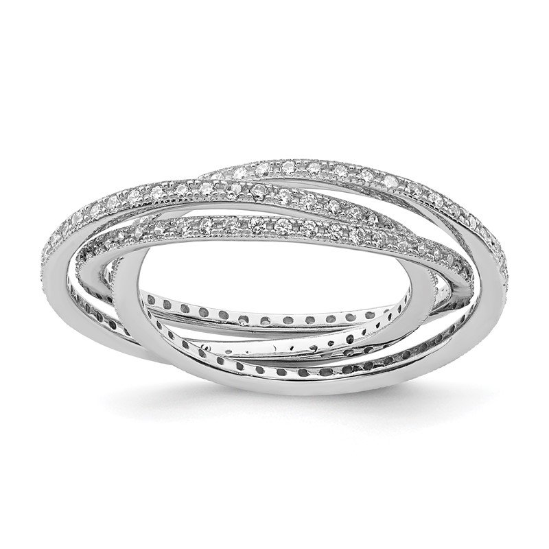 Quality Gold Sterling Silver Rhodium-plated Three 1.5mm Interlocking CZ Rings