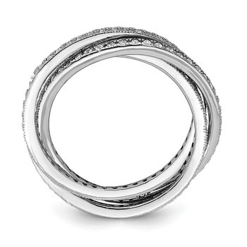 Sterling Silver Rhodium-plated Three 1.5mm Interlocking CZ Rings