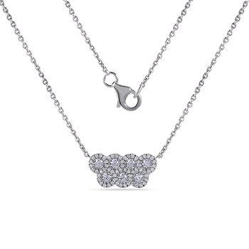 "14K Diamond Necklace with 69 Diamonds 0.40C 18"" chain"