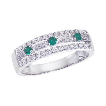 14k White Gold Emerald and .28 ct Diamond Band