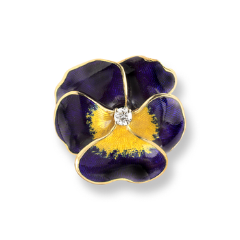 18 Karat Gold Pansy Necklace-Purple.  Diamonds.