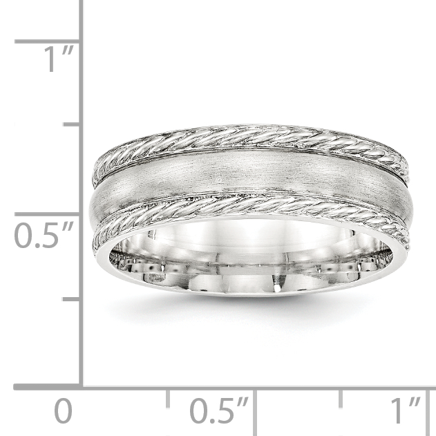Bridal Wedding Bands Fancy Bands SS 6mm Polished Fancy Band Size 10 Size 12.5