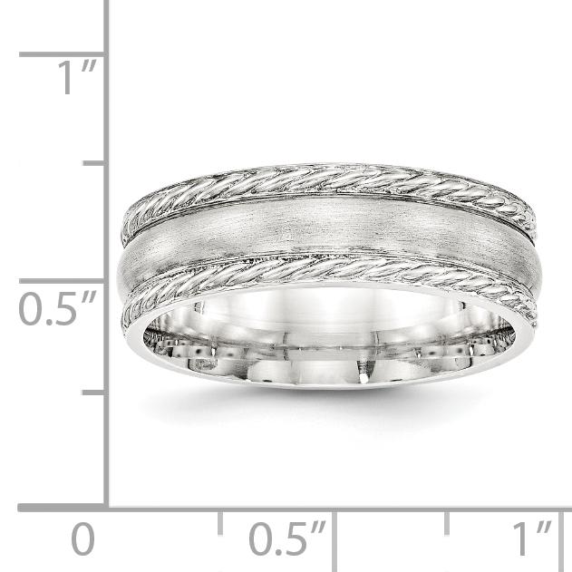 Bridal Wedding Bands Fancy Bands SS 6mm Brushed Fancy Band Size 10 Size 9