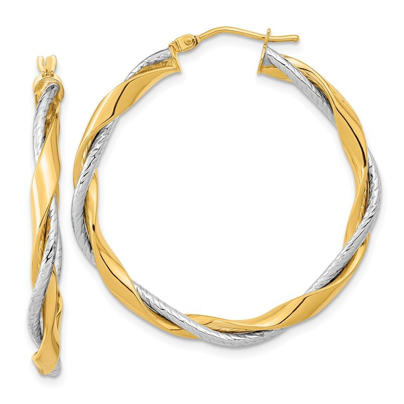 Quality Gold 14k Two-tone Polished Rope Twisted Hoop Earrings