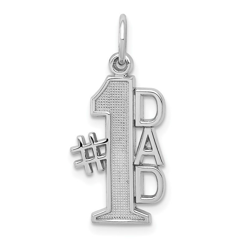Quality Gold 14k White Gold Polished #1 DAD Charm
