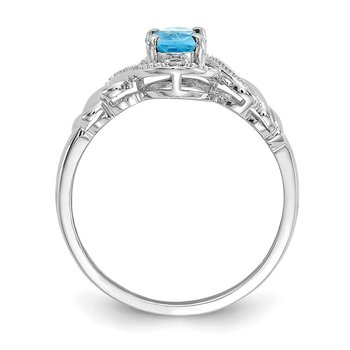 10k White Gold Light Swiss Blue Topaz and Diamond Ring
