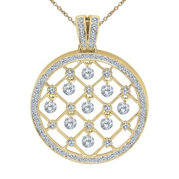 14K Yellow Gold Dashing Diamonds Pendant