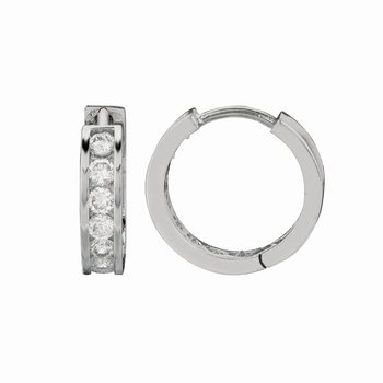 Silver Channel Set 3x15mm CZ Hoop Earrings