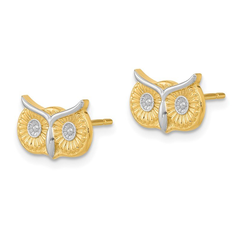 Details about  /14K Yellow Gold Polished Owl Head Charm Post Earrings