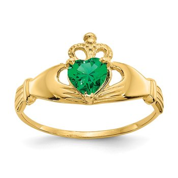 14k CZ May Birthstone Claddagh Heart Ring