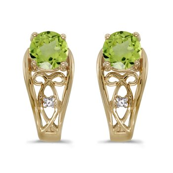 14k Yellow Gold Round Peridot And Diamond Earrings