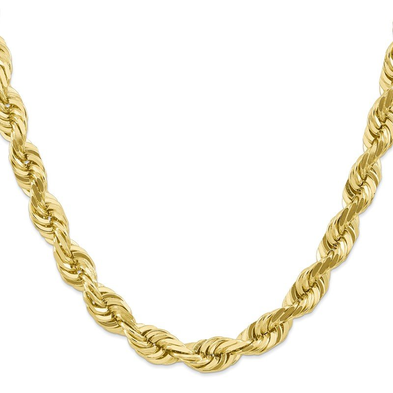 Quality Gold 10k 10mm Diamond-cut Rope Chain