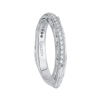 18K White Gold Euro Shank Round Diamond Half-Eternity Wedding Band
