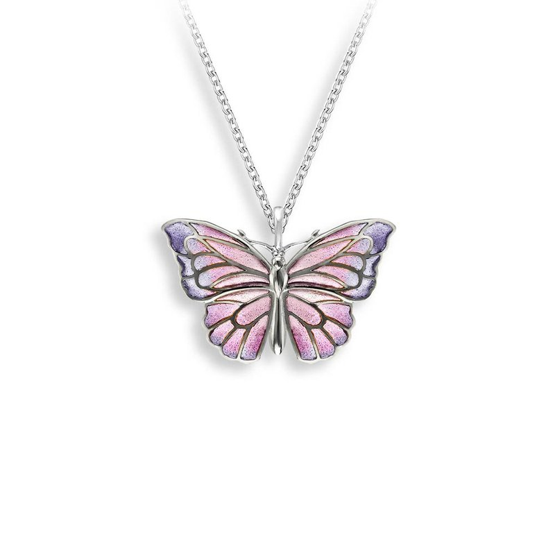 Nicole Barr Designs Purple Butterfly Necklace.Sterling Silver - Plique-a-Jour