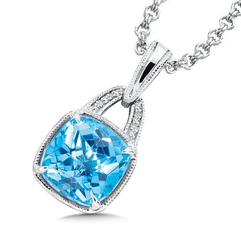 Sterling Silver Swiss Blue Topaz White Diamond Pendant