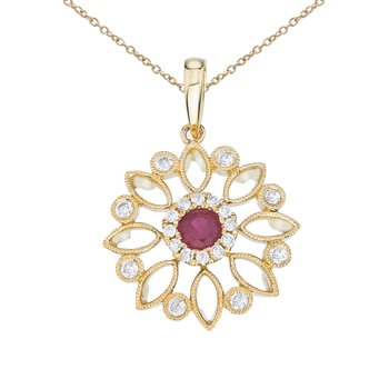 14k Yellow Gold Floral Filigree Ruby and Diamond Pendant