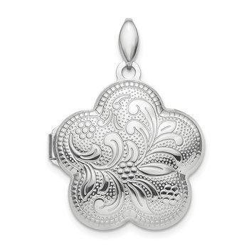 Sterling Silver Rhodium-plated Polished 21mm Domed Flower Locket