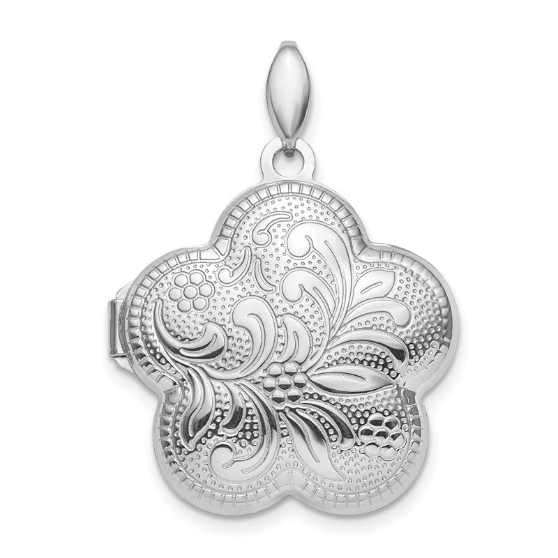 Quality Gold Sterling Silver Rhodium-plated Polished 21mm Domed Flower Locket