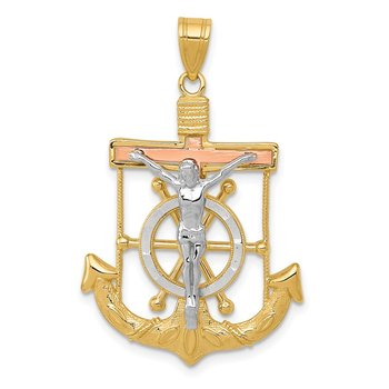 14k Tri-color Diamond-cut w/Textured Mariner's Cross Pendant