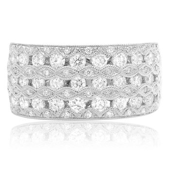 Seven Row White Diamond Band