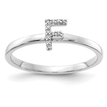 14k White Gold Diamond Initial F Ring