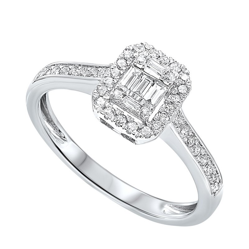 Diamond Rectangular Halo Ring in 14k White Gold (1/7ctw)